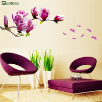 Beautiful Flowers Purple Jade Orchid Wall Stickers Home Decor For Backdrop Decorative Wall Free Shipping