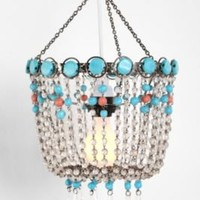 Turquoise Beaded Faux Chandelier
