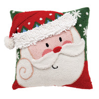 October Hill Santa 3D Hooked Acrylic / Cotton Pillow