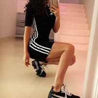 """Adidas"" Women Sport Casual Fashion Zip Stripe Short Sleeve T-shirt Bodycon Mini Dress"