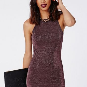 Missguided - Madilynn Lurex Round Neck Bodycon Dress Copper