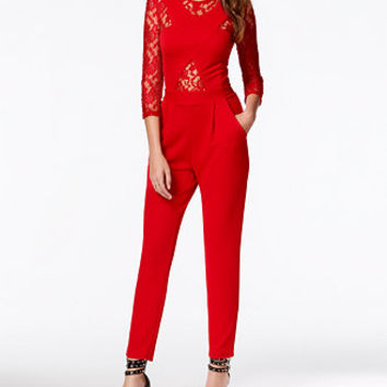 Marilyn Monroe Juniors' Illusion Lace Jumpsuit
