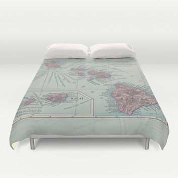 Hawaii Map Duvet Cover - bed - bedroom, travel decor, cozy soft, pastel, winter, warm, wanderlust