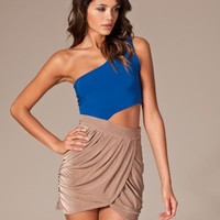 Draped Cut Out Dress - Club L - Bl?/brun - Festkl?nningar - Kl?der - NELLY.COM Mode online p? n?tet