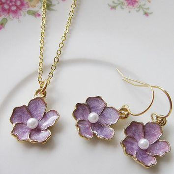 Bridesmaid Jewelry - Flower Necklace Earring Set - Lavendar and Gold Enamel Flower Charm - Wedding Jewelry - Gift for her Women