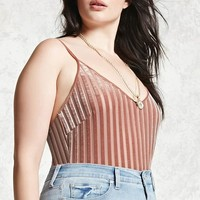Plus Size Mesh Striped Bodysuit