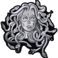 """[Single Count] Custom and Unique (4.0 X 4.0 Inches) """"Mythical"""" Mythical Being Medusa Snakes Iron On Embroidered Applique Patch {Black and Gray Colors}"""