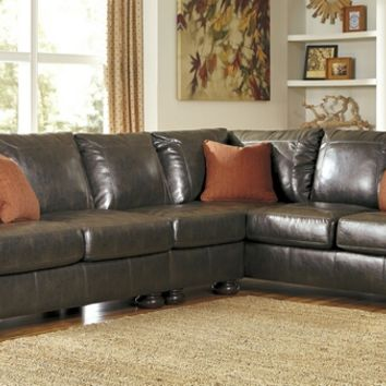 Ashley Furniture 31600-55-46-67 3 pc nesbit collection antique colored durablend bonded leather upholstered sectional sofa with nail head trim accents