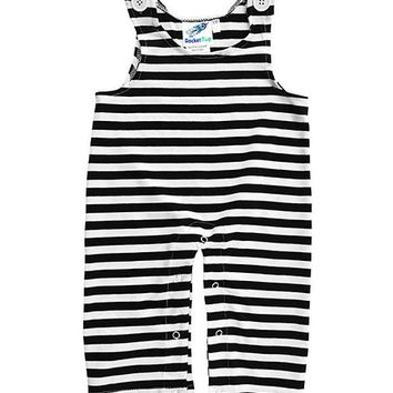 Black & White Stripe Overalls - Infant & Toddler