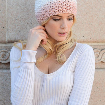Ombre Three Tone Beanie-Pink