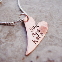 You are here copper heart handstamped necklace