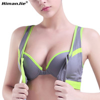 HimanJie 4 Color Sexy Women Sports Bra Top women's underwear AHH Bra Crop Top Seamless Brassiere Sports Wire Free Push Up Bra