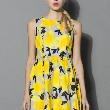 Flourish Yellow Flare Dress