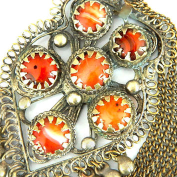 Antique Tribal Necklace Carnelian Turkish Middle Eastern Jewelry Ethnic Gemstone Antique Collectible Orange Old Silver Historical Jewelry