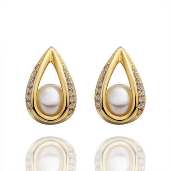 18K Gold Hollow Acorn With Pearl Earrings Made with Swarovksi Elements