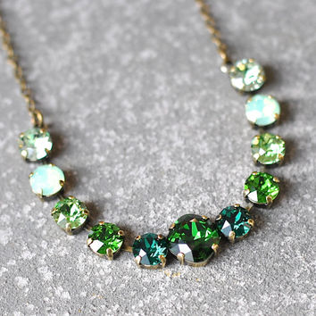 Emerald Necklace Swarovski Crystal Ombre Emerald Moss Kelly Green Perdidot Mint Opal Celery Rhinestone Bar Necklace Mashugana