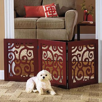 Pet Gate Wooden Brown Scroll Filligree Expandable Collapsible 3 Panel Adjustable