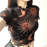 Autumn and winter women's new mesh angel prints exposed umbilical fungus short-sleeved T-shirt women