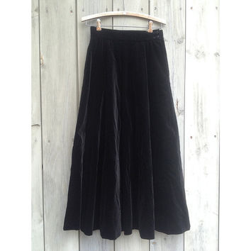 Vintage skirt | Jaeger black velvet long midi skirt