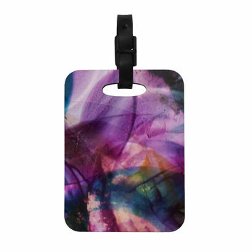 "Malia Shields ""Bubble Series #5"" Purple Multicolor Decorative Luggage Tag"