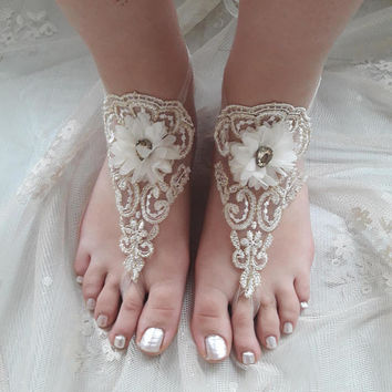 Ivory Barefoot , french lace sandals, wedding anklet, Beach wedding barefoot sandals, Bridal sandals, Bridesmaid gift, Beach Shoes, Sandles