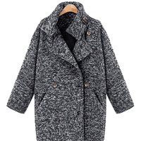 Front Slant Pockets Double Breasted Coat