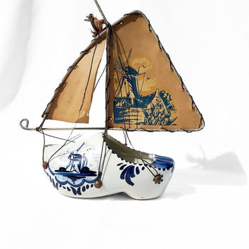 Vintage Blue & White Dutch / Holland Shoe Sailboat Table Accessory; Windmill Netherlands Farm Trinket