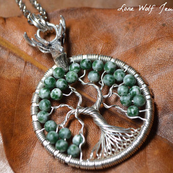 Sterling Silver Wire Wrapped Tree of Life Tree Agate Elk Pendant Celtic Yggdrasil Necklace Family Tree Wrapped Green Agate Deer Elk Hunter