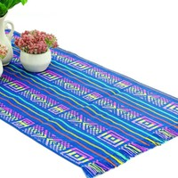 Mexican table runner, Teal Blue Table runner 14x72 Inches, Fiesta Decoration, Cinco de Mayo, Boho Chic Decor, 14X72TRC701