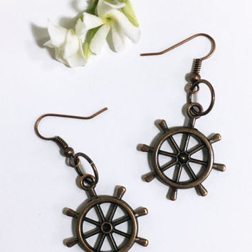 Antique copper nautical earrings. Ship wheel pendant. Handmade jewelry Lightweight earrings Steampunk jewelry Deep sea ocean charm Gift wife