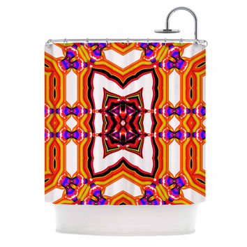 """Dawid Roc """"Inspired By Psychedelic Art 4"""" Orange Abstract Shower Curtain"""