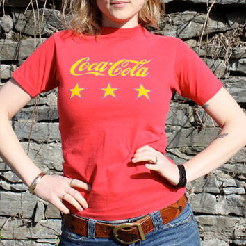 Coca Cola tshirt - vintage 70s 80s red yellow coke tee shirt size small s