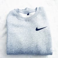 "Women Fashion ""NIKE"" Round Neck Top Pullover Sweater Sweatshirt Grey small hook"