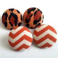 2 for 11 mixed prints earring set. Wild Leopard and orange rust chevron fabric button earrings