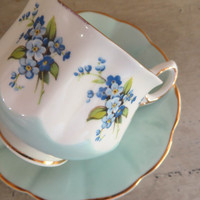 Tea Cup Rosina Blue Tea Cup Forget me Knot Teacup China Teacup Porcelain Tea Cup Trees Tea Cup Housewarming Gift Vintage Teacup