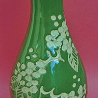 Cornish Pottery Green Vase By Angela May, Little Kerthen Wood Pottery, Townsend & St Erth near Penzance in Cornwall UK