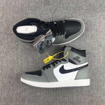 New Material 2017 AJ1 Nike Logo Gray White Mens Shoes