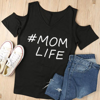 2017 Women  T-Shirt Mom Life Letter Printed Off Shoulder T Shirt V Neck Short Sleeve Top Fashion Casual Summer Comfortable Tee