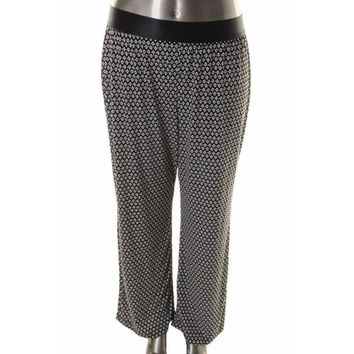NY Collection Womens Plus Matte Jersey Printed Palazzo Pants