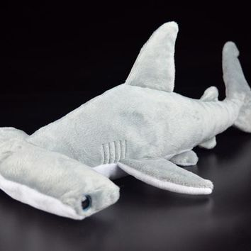 "15"" Super Soft Hammerhead Shark Plush Toys Simulated Grey Shark Stuffed Toys Dolls Birthday Gift For Children"