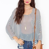 Catalina Stripe Blouse in  What's New at Nasty Gal