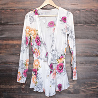 soft vintage floral romper with front tie - ivory