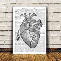 Heart poster Modern decor Anatomy art Dictionary print RTA14
