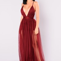 On The Runway Maxi Dress - Wine