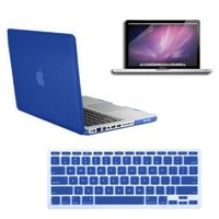 SmackTom(TM) 3 in 1 Rubberized Blue Hard Case Skin for Macbook Pro® 13 inches A1278 with Protective Keyboard Cover