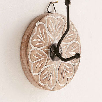 Wooden Round Hand Painted Wall Hook | Urban Outfitters