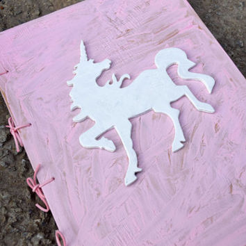 Pink Unicorn wood book,Baby shower gift,baby girl gift,Kids photo album,Guest Registry,Personalized Notebook,sketchbook,Birthday gift,Kid