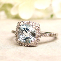 Vintage Engagement Ring 1.28ct Cushion Cut Blue Topaz & Diamond Alternative Engagement Ring 10K White Gold Filigree Diamond Wedding Ring!