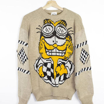 1978 GARFIELD SPEED DEMON knit sweater - vintage 70s - rare