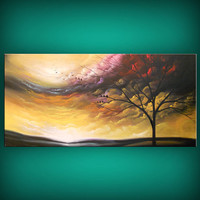 tree painting cloud painting large landscape abstract 48 x 24